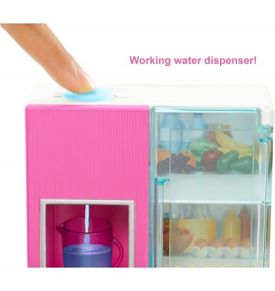 Mattel Barbie and Furniture Set (Refrigerator with Working Water Dispenser and Kitchen Accessories)