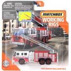 Matchbox Working Rigs MBX FD Pierce Quantum Aerial Ladder Truck, Red & White Fire Truck