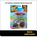 Hot Wheels Monster Trucks Race Ace & Crushed Sedan Sudden Stop