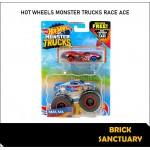Hot Wheels Monster Trucks Race Ace & Crushed Sedan Sudden Stop
