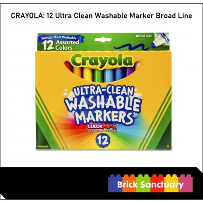 CRAYOLA 12 Count Colors Ultra-Clean Washable Markers Broad Line